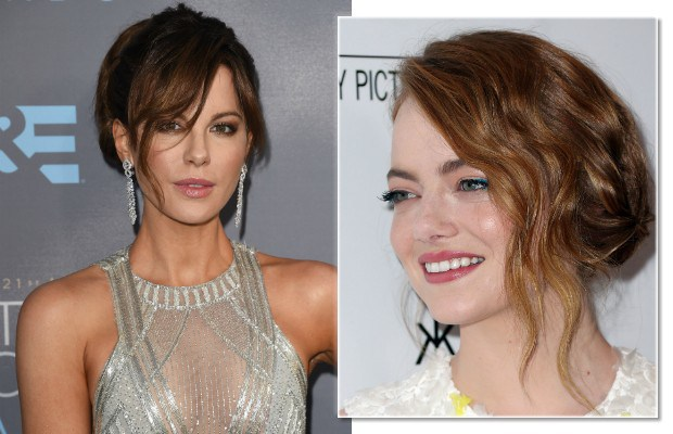 A franja também compõe um penteado despojado como os de Kate Beckinsale as Emma Stone (Foto: Jason Merritt/Frederick M. Brown/Getty Images)