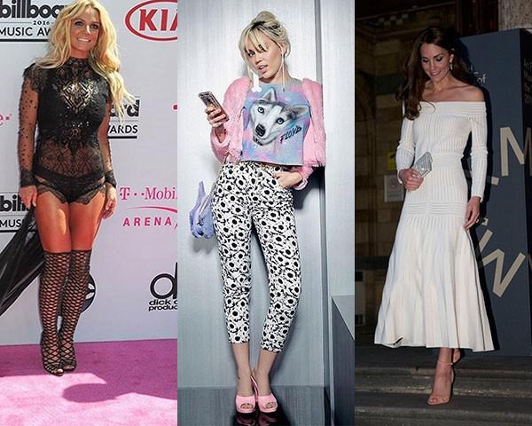 Britney Spears, de Schutz; Miley Cyrus, de Melissa; Kate Middleton, de Schutz (Foto: Getty/ Divulgação)